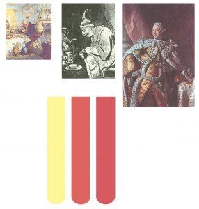 Вверху справа: официальный портрет короля. Внизу: моча больного порфирией (в середине) больше напоминает по цвету красное вино (справа), чем нормальную мочу (слева)