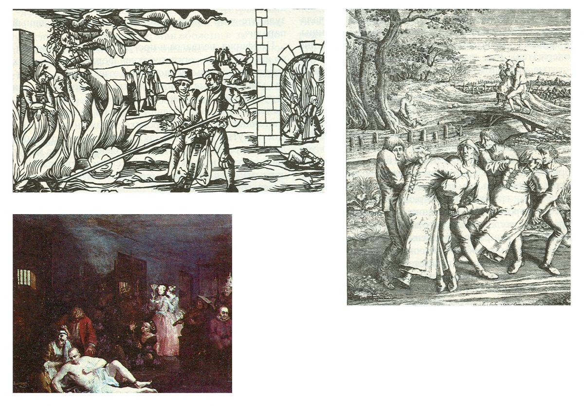 На немецкой гравюре (вверху слева) змееподобный сатана, покидающий тело своей жертвы. Позднее душевнобольных стали отпускать на волю, и они бродили по дорогам Европы и Англии {справа). Внизу: сцена в сумасшедшем до¬ме XVIII века — иллюстрация Уильяма Хогарта к книге «Похождения повесы»